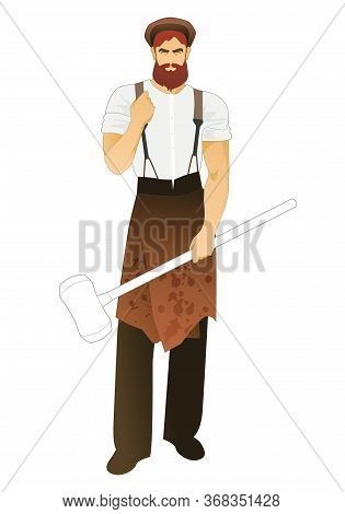 Blacksmith With Beard And Beret Wearing Retro Work Clothes And Holding A Long Handled Hammer. Isolat