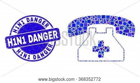 Geometric Medical Phone Mosaic Icon And H1n1 Danger Watermark. Blue Vector Rounded Grunge Watermark