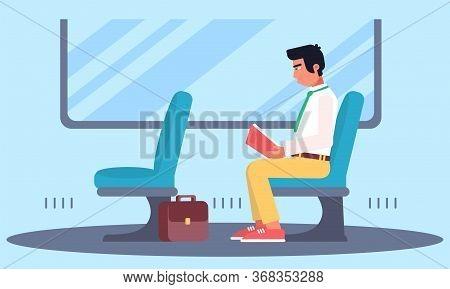Cartoon Man Character Enjoying Book Reading In Public Transport. Reader In Subway Train, Bus, Tram.