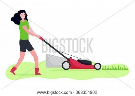 Flat Vector Illustration Of Woman With Lawn Mower. Girl Cutting Green Grass With Moder Lawnmower. Ba