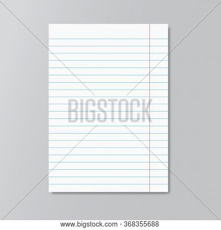 Realistic Copybook Page . Mockup. Paper Background. Notebook And Diary, Education, Organizer, Copybo
