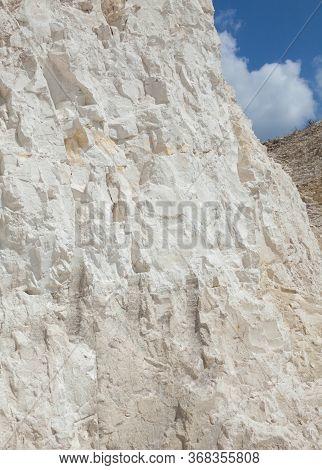 Chalk Mining In Sumy Region In Ukraine. Chalk Hills. Limestone Quarry. Open-cast Mining.