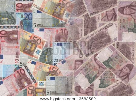 Euros And Korean Currency