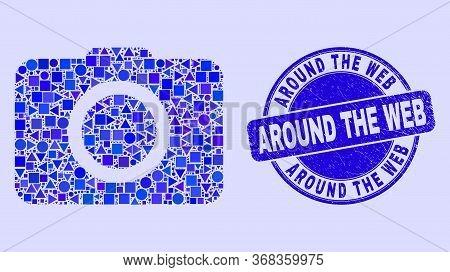 Geometric Photo Camera Mosaic Pictogram And Around The Web Stamp. Blue Vector Round Grunge Seal Stam