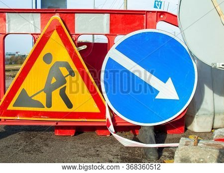 Road Works. Traffic Signs. Roadwork Sign And Keep Right Sign.