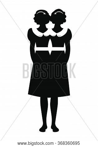 Silhouette Of Siamese Sisters Dressed In The Old Way, Isolated On White Background
