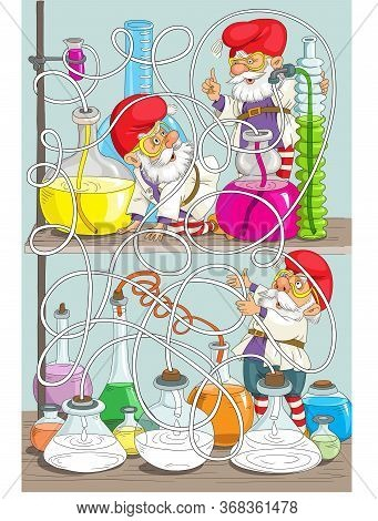Children's Puzzle Illustration. Elves Are Chemists. Task. Which Flask Will Pour Colored Liquid From