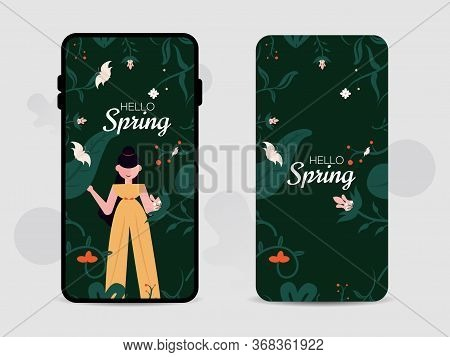 Mobile Cell Phone Seamless Screen, And Back Cover Design For Hello Spring. Use It Summer Background,
