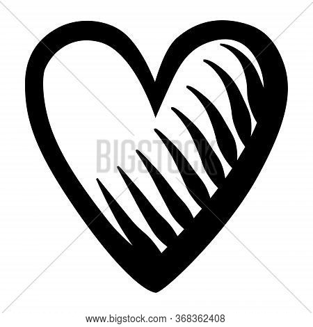 Heart Motif Pattern Shape Isolated On White Background, Vector Illustration