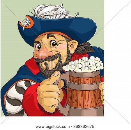 Funny Vector Cartoon. Illustration. Satisfied Pirate With A Big Beer.