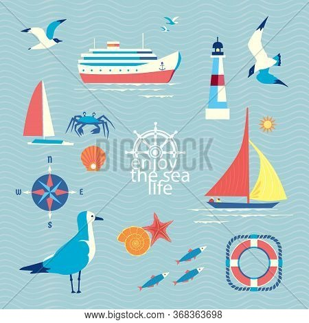 Nautical Poster Concept. Set Of Cute Seaside Symbols In Retro Cartoon Design Style. Fancy Letters Ma