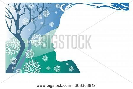 Vector Illustration Allegory Winter. Silhouette Profile Of A Girl On A Background Of Snowy Hills And