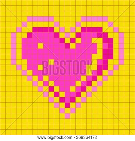Heart Mosaic Pixelart Motif Pattern Shape On Mesh Seamless Background, Vector Illustration