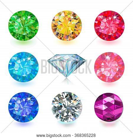 Gemstone Cut Color Shape Set Isolated On White Background Illustration