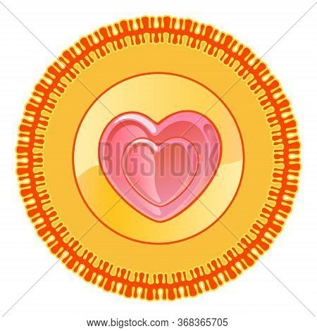 Heart Shape Round Plate Design Motif Pattern Shape Isolated On White Background Illustration