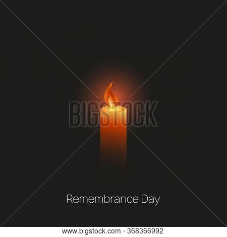 Memorial Day Template. International Holocaust Remembrance Day With A Burning Candle On A Dark Backg