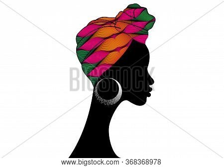 Portrait Beautiful African Woman. Shenbolen Ankara Headwrap Women African Traditional Headtie Scarf