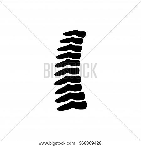 Spine Orthopedic, Human Skeleton, Vertebrae. Flat Vector Icon Illustration. Simple Black Symbol On W