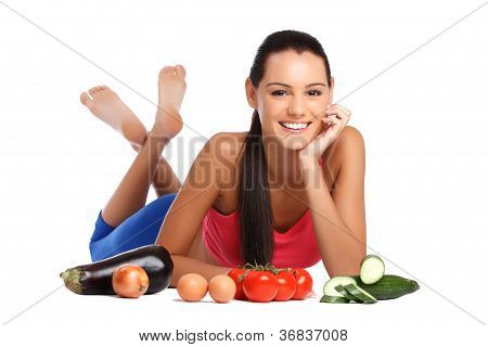 Brunette Teenager With Healthy Vegetables On White Background