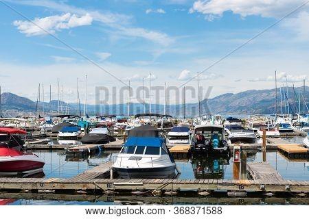 Penticton, British Columbia/canada - June 13, 2019: Close-up Of Boats Docked At The Penticton Marina