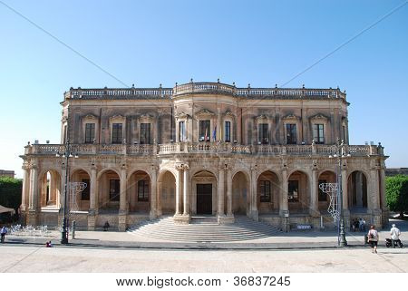 The baroque city hall of Noto