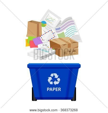 Paper Waste And Blue Recycling Plastic Bin Isolated On White, Plastic Bin And Paper Recycling Garbag