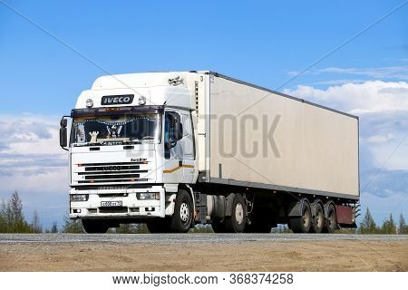 Novyy Urengoy, Russia - May 19, 2020: White Lorry Iveco Eurostar At The Interurban Road.