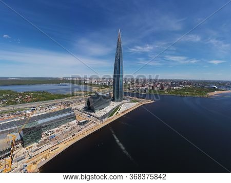 Russia, St.petersburg, 26 May 2020: Aerial Panoramic Image Of Skyscraper Lakhta Center At Day Time,