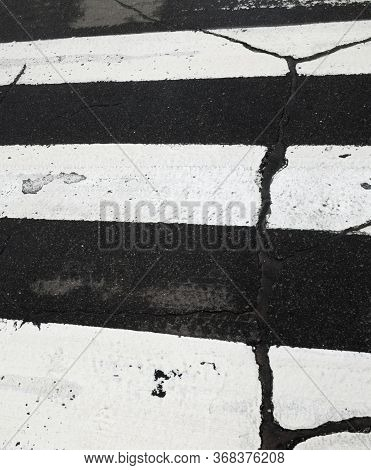 White Zebra Crossing Lines On The Road. Pedestrian Crossing. Cracked Surface. Potholes On The Road.