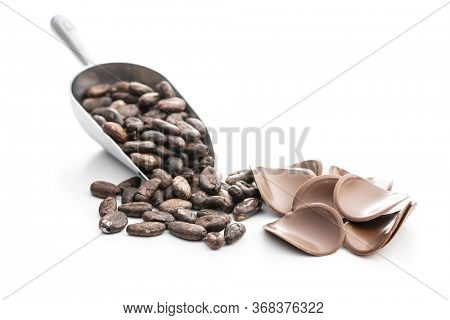 Dark chocolate chips and cocoa beans isolated on white background.