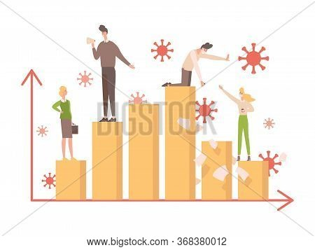 Bar Graph During Coronavirus With Business People On It Vector Flat Illustration. Covid-19 Affects W