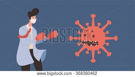 Young Doctor In Uniform And Protective Face Mask Struggles With Frightened Coronavirus Cell Vector F