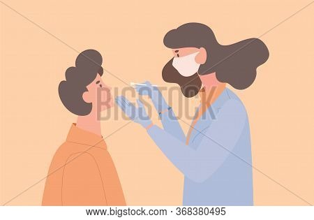 Doctor Or Nurse In Uniform And Protective Mask Take Swab From A Patient For Coronavirus Sample Vecto