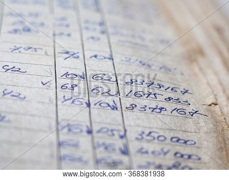 Old Paper Documents In The Archive. Bookkeeping (accountancy). Hand-written Calculations.