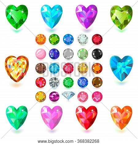 Heart Cut Gemstone Motif Pattern Shape Set On White Background Vector Illustration
