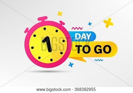 One Day Left Icon. Countdown Left Days Banner With Timer. 1 Day To Go Sign. Sale Announcement Banner