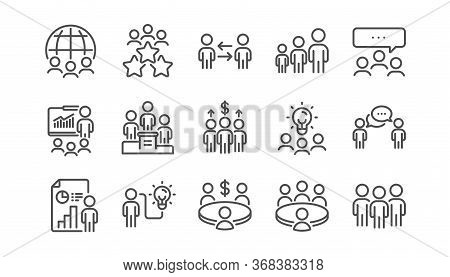 Meeting Line Icons Set. People, Classroom Job, Seminar. Team, Work And Business Idea Icons. Discussi