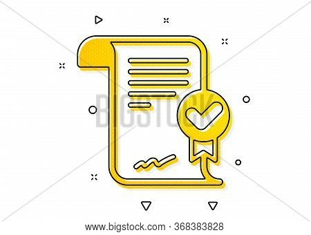 Verified Document Sign. Approved Agreement Icon. Accepted Or Confirmed Symbol. Yellow Circles Patter