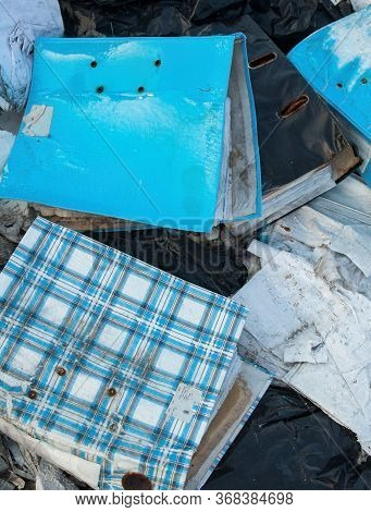 Office File Folders On The Landfill. Garbage. Environmental Pollution.