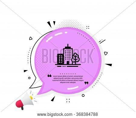Skyscraper Buildings Icon. Quote Speech Bubble. City Architecture With Tree Sign. Town Symbol. Quota