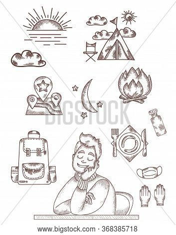 Vector Line And Strokes. The Man Sitting At The Table Is Resting, Closed His Eyes And Dreams Of Rest