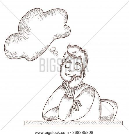 Vector Line And Strokes. A Man Sitting At A Table Is Resting, Closed His Eyes And Dreams