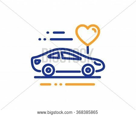 Honeymoon Travel Line Icon. Love Car Trip Sign. Valentines Day Transport Symbol. Colorful Thin Line