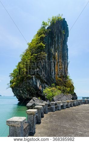 Ao Talo Wow Sea Rock Split In Half With Concrete Jetty, In Koh Tarutao National Park, Thailand