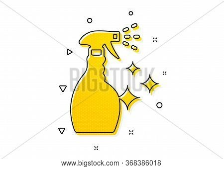 Washing Liquid Or Cleanser Symbol. Cleaning Spray Icon. Housekeeping Equipment Sign. Yellow Circles