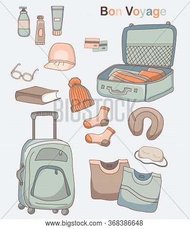 Set Of Vector Pictures Of Luggage, Clothes And Things For Travel On Vacation. Bon Voyage.
