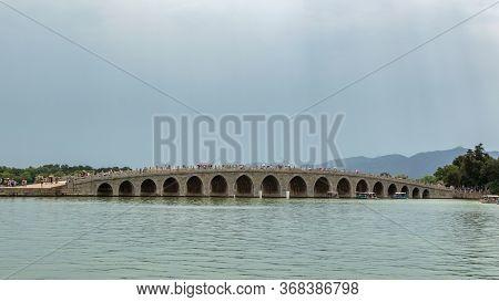 Beijing / China - June 6, 2015: Seventeen-arch Bridge (shiqikong Qiao) In The Summer Palace In Beiji