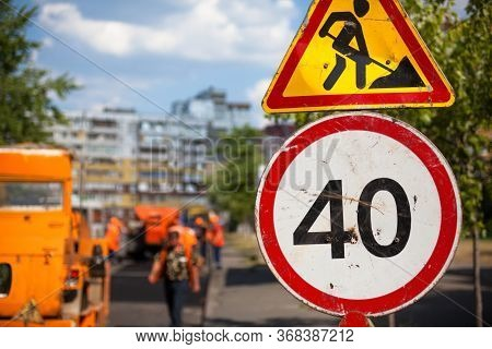 Road Work (roadwork) And Speed Limit (40 Kilometers Per Hour) Traffic Signs. Road Construction.