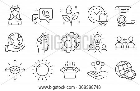 Set Of Business Icons, Such As Packing Boxes, Settings Gears. Diploma, Ideas, Save Planet. Hospital