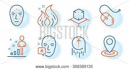 Fire Energy, Augmented Reality And Stats Signs. Face Biometrics, Face Declined And Swipe Up Line Ico